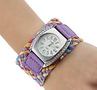 Tessuto PU analogico al quarzo orologio da polso da donna (colori assortiti)
