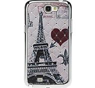 Eiffelturm Pattern Hard Case mit Strass für Samsung Galaxy Note N7100 2