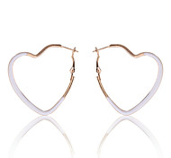 Europestyle Brief Enamel Heart Shape Hoop  Gold Plating Earrings