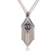 lureme®antique Silberlegierung Diamant-Anhänger Quasten Halskette