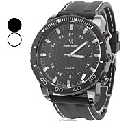Men's Fashion Style Black Dial Silicone Band Quartz Wrist Watch (Assorted Colors)