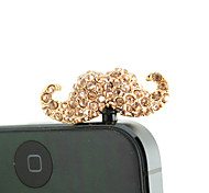 Gold Plated Alloy Zircon Mustache Pattern Anti-dust Plug(Random Colors)