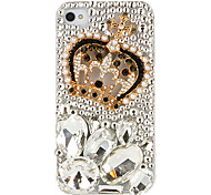 Crown Pattern Irregular Shape Crystal Covered Back Case for iPhone 4/4S