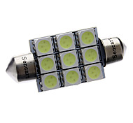 Feston 39mm 1.5W 100LM 9x5050SMD LED Ice Blue lampe de lecture / Licence éclairage de la plaque (12V)