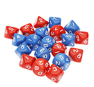 10pcs Pack Unique 10-Sided Game Dice (Random Color)