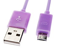 Micro USB a USB macho a macho Cable de datos para Samsung / Huawei / ZTE / Nokia / HTC Light Purple (1M)