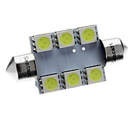 Feston 39mm 72LM 1W 6x5050SMD LED Ice Blue lampe de lecture / Licence éclairage de la plaque (12V)