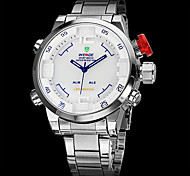 Brand Men's Dual Time Analog-Digital LED Display Steel Band Luxury Wrist Watch