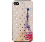 The Eiffel Tower At Dusk Pattern Zircon Back Case for iPhone 4/4S