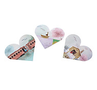 Travel Pattern Heart Shaped Notepad (Random Color)