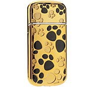 Footprint Pattern Windproof Gas Lighter (Gold ,Silver)