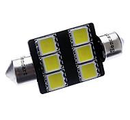 Festoon 36mm 3W 6x5060SMD 220-250LM 6000-6500K White Light LED Car License Plate/Reading Lamp (12V)
