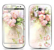 Elegant Flower Pattern Front and Back Protector Stickers for Samsung Galaxy S3 I9300
