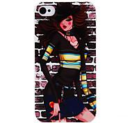 Padrão Transparente Caso Modern PC menina quadro para o iPhone 4/4S