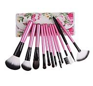 12PCS Rosa maniglia pennello cosmetico set con libera custodia floreale rosa