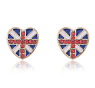European Style Fashion Heart Shape National Flag Stud Earrings
