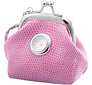 Women's and Girl's PU Analog Quartz Keychain Watch (Pink)