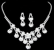 Alloy Zircon hining Flower Pattern Wedding Jewelry et