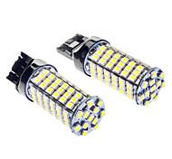 T20 5W 400LM 6000-6500K 102-LED bombilla de luz blanca para coche (12V DC)