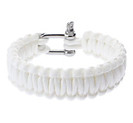 Stylish Survival Glowing-in-the-dark Paracord Bracelet with Stainless Steel Buckle(Pearl White)