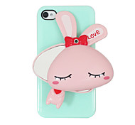 Plastic Rabbite Pattern Hard Case with Mirror for iPhone 4/4S(Assorted Colors)