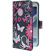 Blauwe Vlinders patroon pu lederen tas met standaard en Card Slot voor Samsung Galaxy Note 2 N7100