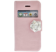 PU Leather Full Body Case With Front Window and Diamond Rose on the Magnetic Snap for iPhone 4/4S (Optional Colors)