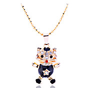 Lureme®Enamel Cat Pendant Necklace