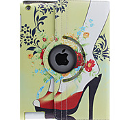 Bunte Pfingstrosen Muster 360 Grad drehbar PU-Leder Ganzkörper-Case mit Ständer für iPad 2/3/4