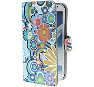 Exquisite Bloemen en Cirkels patroon pu lederen tas met standaard en Card Slot voor Samsung Galaxy Note 2 N7100