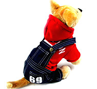 1969 Strawberry Pattern Overall with Hoodie for Pets Dogs (Assorted Colors, Sizes)