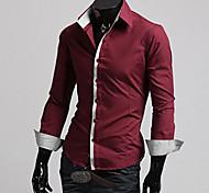 Camisa De los hombres Un Color Casual-Mezcla de Algodón-Manga Larga-Negro / Rojo / Blanco / Gris