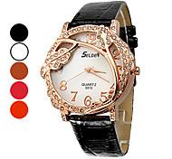 Vignes Pattern PU quartz analogique montre-bracelet des femmes (couleurs assorties)