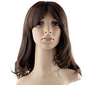 Монолитным высшего сорта синтетического длинные волнистые Браун Мода Парики волос