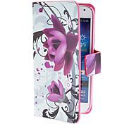 Elegante lila Blumen-Muster PU-Lederetui mit Magnetverschluss und Card Slot für Samsung Galaxy S4 Mini I9190