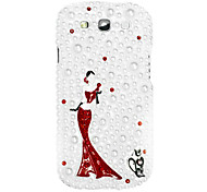 Dancing Girl Pattern Hard Case with Rhinestone for Samsung Galaxy S3 I9300