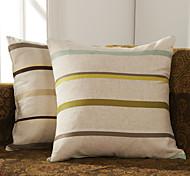Juego de 2 Beige poliéster almohada cubierta decorativa Rayas
