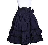 Rodilla-longitud de la tinta azul del algodón del arco de la correa Classic Lolita Falda