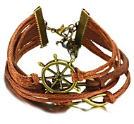 Hand Made Fashion Infinity Boat Anchor Aiming Circle Braided Genniue Leather Rope Bracelet