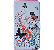 Vlinders en cirkels Patroon Full Body Case met Card Slot en Ingebouwde Matte PC Back Cover voor iPhone 4/4S