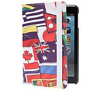 Varias banderas nacionales PU del patrón de cuero de caso completo del cuerpo con el soporte para el iPad mini