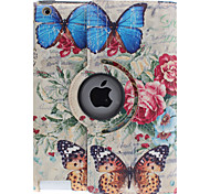 Schmetterling auf Rosen-Muster 360 Grad drehbar PU-Leder Ganzkörper-Case mit Ständer für iPad 2/3/4