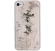 Ink Drawing Bamboo Pattern Epoxy Hard Case with Silver Frame for iPhone 4/4S