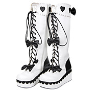 Handmade White and Black Bow PU Leather 6cm Wedge Sweet Lolita Boots