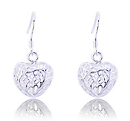 Fashion 925 Sterling Silver Plated Hollow Out Heart Drop Earrings