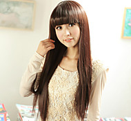 Capless longue ligne droite synthétique de haute qualité perruque brune