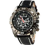 style militaire cadran noir montre-bracelet PU bande de quartz des hommes