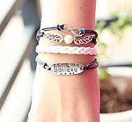 Eruner® Women's Angel Wings Believe Infinite Multilayer Handmade Leather Bracelets