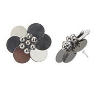 Black Metal Flower Fresh Earrings