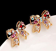 Stud Earrings Love Cute Style Luxury Rhinestone Alloy Bowknot Golden Jewelry For Party Daily Casual 1pc